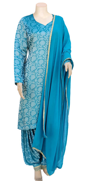 Buy designer patiala salwar & kameez suits at the best rates in the USA & Canada. Blue Golden Banarasi Jacquard Brocade Silk Chiffon dupatta lace border short full sleeves Ethnic Indian traditional wedding party chanderi festival panjabi outfit lohri jaago shop online fashion stylish Darpaha Sale