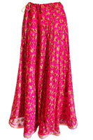 Shop online for designer Indian Phulkari Lehenga long skirts at the best rates in USA & Canada. Hot Pink Fuschia Punjabi Phulkari Umbrella cut skirt sequins work free plus one size casual soft shiny flared Ethnic traditional wedding party elastic waist handmade golden festival occasion ethnic bridesmaid Darpaha Sale