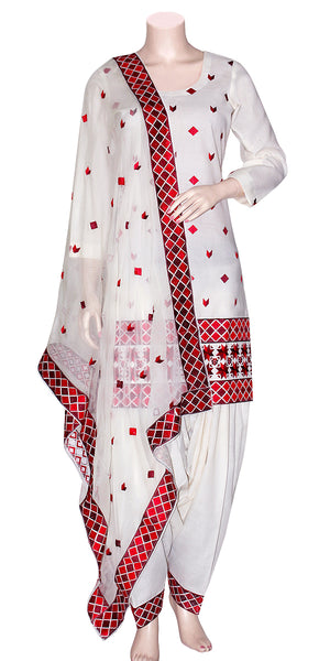 Red & Maroon Color Phulkari Embroidery on White Color Salwar Suit PSS1621002