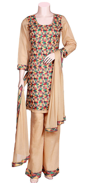 Uniquely & Beautiful Phulkari Embroidery wheat color 3pc Palazzo Suit/Dress