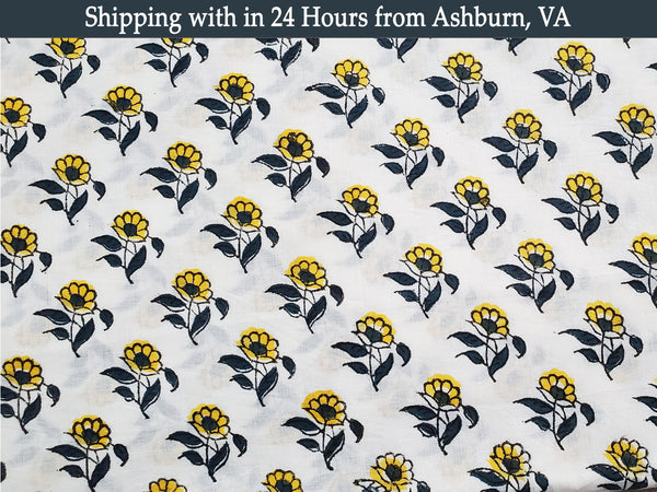 Sunflower Print on White Base Pure Cotton Voile Block Print 1 Yard Fabric Dresses Stitching Draping Indian Craft Sew Flower Cloth BOHO DIY