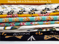 Pure Cotton Voile Block Print 1 Yard Fabrics Multicolor Dresses Stitching Draping Indian Craft Sew Flower Cloth BOHO DIY