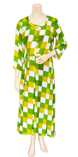 Buy designer Indo-western Long Boho fashion dresses maxis & gowns at the best rates in the USA & Canada. Full floor length multi color green yellow white check print on Rayon fabric. Full Bell Sleeve waist belt casual summer wear Fit and Flare A-line flared skirt Comfortable chic modern contemporary style Darpaha Sale