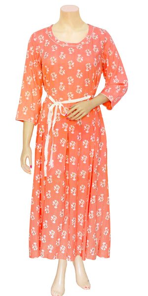 Peach Floral Print Dress/Maxi/Gown
