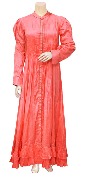 Buy designer Indo-western Long Boho fashion dresses maxis & gowns at the best rates in the USA & Canada. Floor length dark dirty pink peach soft cool Rayon fabric. Full Sleeves collar neck button closure frayed casual summer wear Fit and Flare A-line flared skirt Comfortable chic modern contemporary style Darpaha Sale