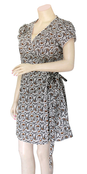 Buy designer Indo-western Boho dresses at the best rates in the USA & Canada. Short wrap dress brown on white paisley print pure cotton fabric. Mini cap sleeves dress fit & flare frock style party evening wear comfortable unique ethnic Summer wear dress  fashionable chic modern contemporary stylized Darpaha shop Sale