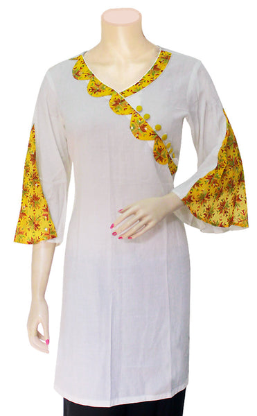 Buy designer Indian Party Wear Kurtis at the best rates in the USA & Canada. White rayon fabric yellow phulkari embroidery borders bell sleeves tunic handicraft Stylish Ethnic traditional wedding party handmade shiny fashion casual elegant BOHO festival occasion party wear stylish discount punjabi Darpaha Sale