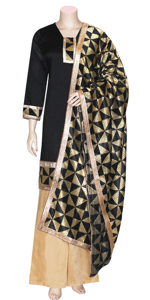 Buy designer Indian phulkari palazzo suit dresses at the best rates in the USA & Canada. Black cotton Kurti & golden pants. Hand Embroidered black & gold Punjabi Phulkari  dupatta full sleeves golden borders  Ethnic traditional wedding party handmade shiny fashion lohri jaago festival occasion stylish Darpaha Sale