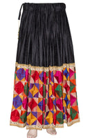 Black Maxi Skirt with Multi Color Phulkari Embroidery Broad Border