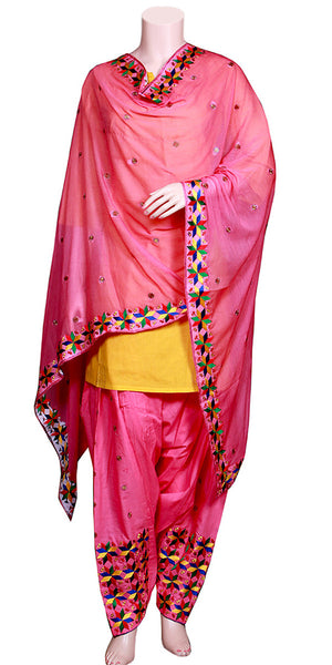 Buy designer salwar & kameez suits at the best rates in the USA & Canada. Pink cotton salwar chiffon dupatta phulkari embroidery punjabi panjabi Patiala Kameez casual wear work attire Dhoti style Ethnic Indian Traditional Handmade jaago lohri festival fashion comfortable handloom flared soft Darpaha shop online sale
