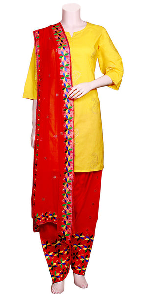Buy designer salwar & kameez suits at the best rates in the USA & Canada. Red cotton salwar chiffon dupatta phulkari embroidery punjabi panjabi Patiala Kameez casual wear work attire Dhoti style Ethnic Indian Traditional Handmade jaago lohri festival fashion comfortable handloom flared soft Darpaha shop online sale