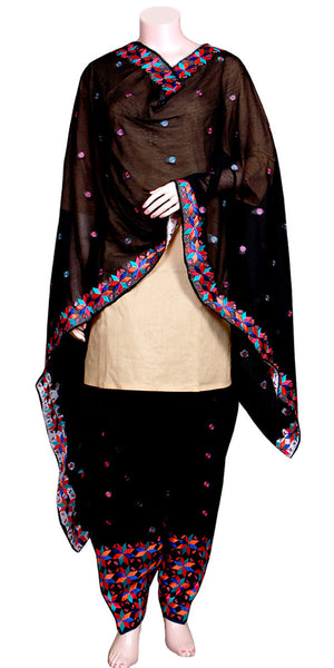 Black Color Phulkari Embroidered Salwar & Dupatta Set RNPSD15641