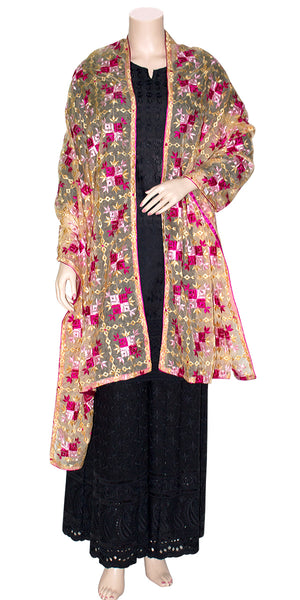 Buy designer Indian handmade punjabi phulkari embroidered dupattas, stoles & chunnis at the best rates in the USA & Canada. Gold & Pink Organza silk dupatta tissue silk border Ethnic Indian traditional wedding party festival fashion wrap accessories handloom light graceful elegant handwork design stylish shop online