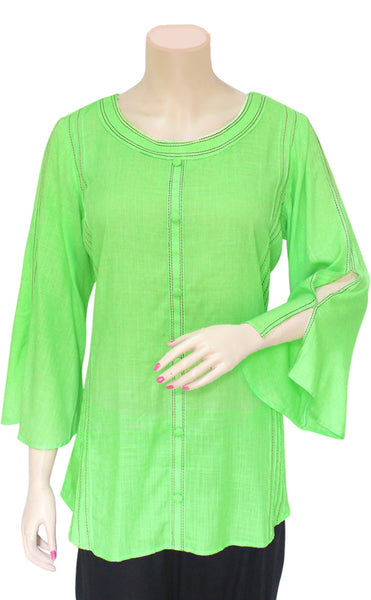 Neon Green Rayon Bell Sleeves Top/Blouse