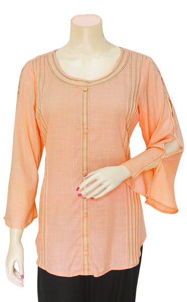 Peach Bell Sleeves Top/Blouse