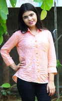 Peach Floral Button-Up Blouse