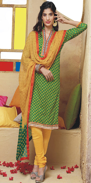 Green & Yellow Printed Cotton Churidar Suit
