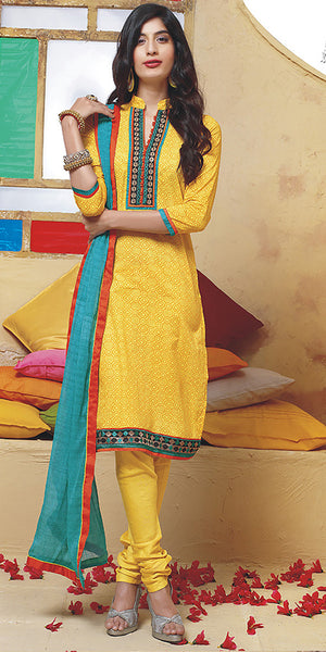 Yellow & Turquoise Printed Cotton Churidar Suit