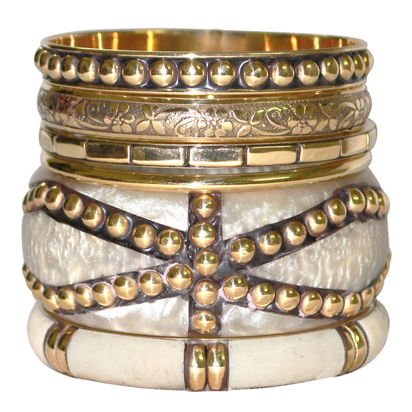 Bone Resin & Brass Bangles, set of 6 Bangles SLB1624002