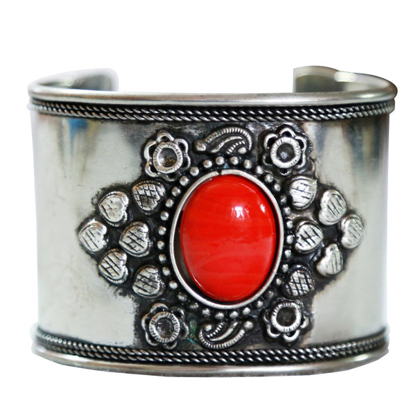 Western Style Silver Tone with Red stone Cuff Bracelet SLC1624006