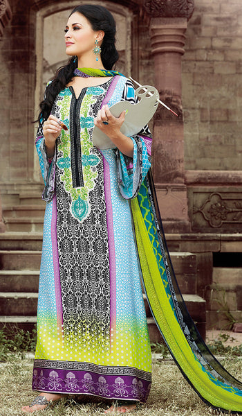 Designers Pakistani Styled Cotton Long Suit SMB-104