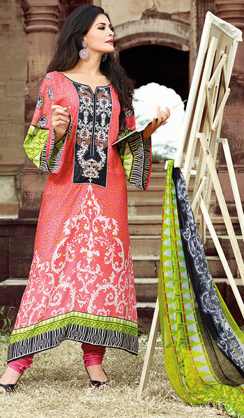Peach & Green Designer Pakistani Unstitched Pajami Suit
