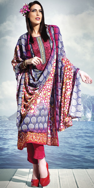 Blue & Maroon Color Pashmina base with digital print full Stitched Suit