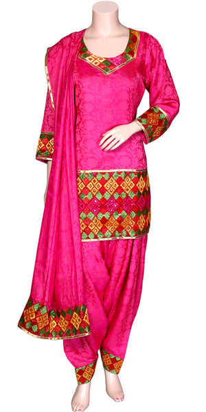 Buy designer patiala salwar & kameez suits at the best rates in the USA & Canada. Hot Pink Jacquard Silk Punjabi Phulkari kurti & salwar with dupatta Multicolor Hand embroidered lace short Ethnic Indian traditional wedding party festival mint panjabi outfit lohri jaago shop online fashion stylish Darpaha Sale