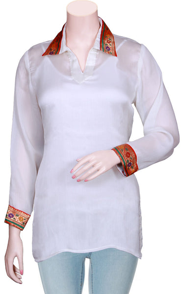 White Color fine Quality Chiffon Silk with Banarasi Border Top/Blouse