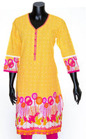 Beautiful Multicolor Flowers Print Cotton Kurti/Tunic/Top