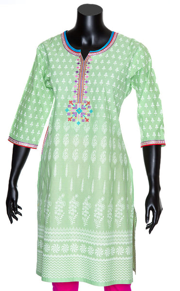 Pistachio Green Jaipuri Cotton Kurti