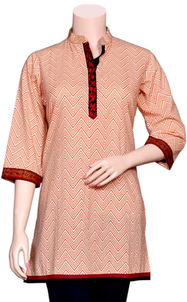 Designer Jaipuri print and embroidery short Kurti/Tunic/Top