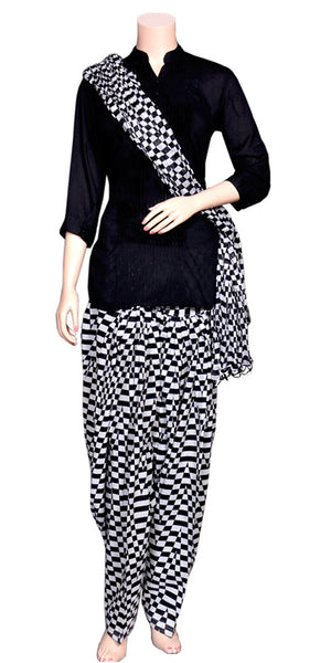 Buy designer salwar & kameez suits at the best rates in the USA & Canada. Black & white stripe printed salwar dupatta set pure cotton punjabi panjabi Patiala Kameez casual wear work attire Dhoti style Ethnic Indian Traditional Handmade pearl border lohri festival fashion Darpaha shop comfortable breathable online sale
