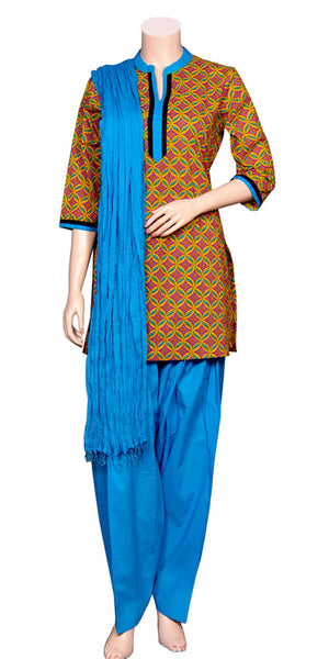Buy designer salwar & kameez suits at the best rates in the USA & Canada. Blue & mustard batik print salwar suit printed cotton dupatta three piece set punjabi panjabi Patiala Kameez Dhoti Ethnic Indian Traditional Handmade pearl border lohri festival fashion comfortable breathable soft Darpaha shop online sale