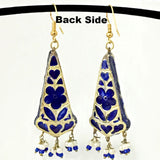 Blue & Golden color Hand-made Lakh/Lac Earrings UE16201