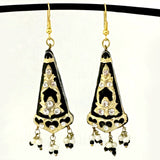 Black & Golden color Hand-made Lakh/Lac Earrings UE16202