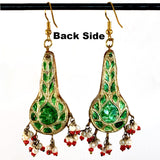 Red, Green & Golden color Hand-made Lakh/Lac Earrings UE16203