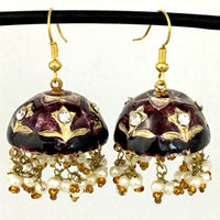 Dark-Brown & Golden color Hand-made Lakh/Lac Earrings