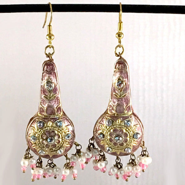 Light-Pink & Golden color Hand-made Lakh/Lac Earrings UE16213