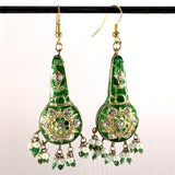 Green & Golden color Hand-made Lakh/Lac Earrings