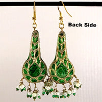 Green & Golden color Hand-made Lakh/Lac Earrings UE16215