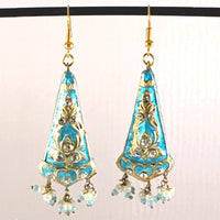 Sky-Blue & Golden color Hand-made Lakh/Lac Earrings UE16217