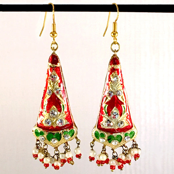 Red, Green & Golden color Hand-made Lakh/Lac Earrings