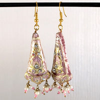 Light-Pink & Golden color Hand-made Lakh/Lac Earrings UE16220