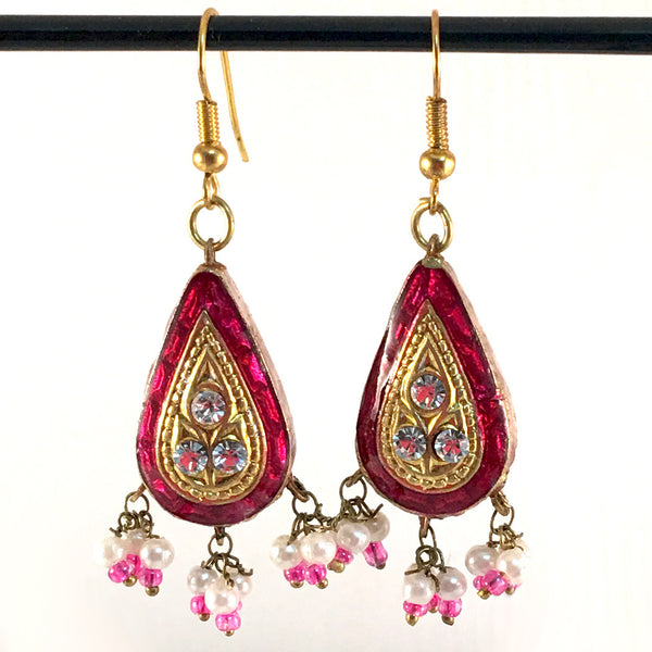 Deep-Pink & Golden color Hand-made Lakh/Lac Earrings