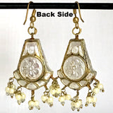 White & Golden color Hand-made Lakh/Lac Earrings UE16225