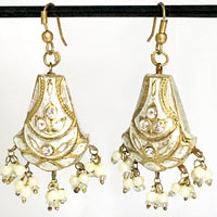 White & Golden color Hand-made Lakh/Lac Earrings