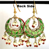 Red, Green & Golden color Hand-made Lakh/Lac Earrings UE16226