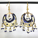 Blue & Golden color Hand-made Lakh/Lac Earrings UE16227