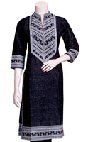 Buy Indo-Western Kurti Palazzo Suits at the best rates in the USA & Canada. Black & White palazzos & long kurti set. Pure Cotton Kurti Chiffon Pants Dupatta fashion chic BOHO casual work outfit occasion party wear stylish loose comfortable lightweight breathable natural look matching top bottom easy Darpaha Sale